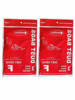6 Royal Dirt Devil Canister Type F Allergy Vacuum Bags, Can