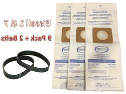 9 Bissell 32120, Style 7, Vacuum Cleaner Paper Bags + 2 Belt
