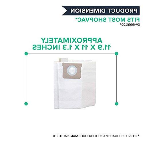 Crucial Vacuum Cleaner Bags Parts With Type H Bags Fit Part # 8 Gallon Shop Vac 5 Gallon,6 Gallon,8 Dry Vacs
